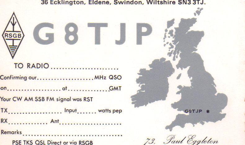 G8TJP QSL card